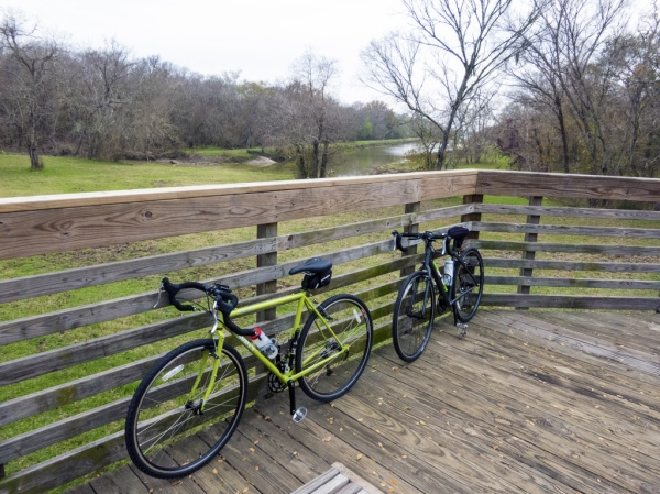 On the boardwalk spanning Buffalo Bayou