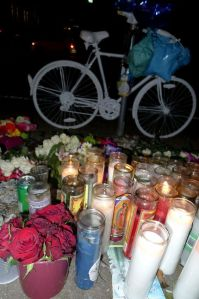 """Ghost Bike"" memorial for Chelsea on Waugh Dr."