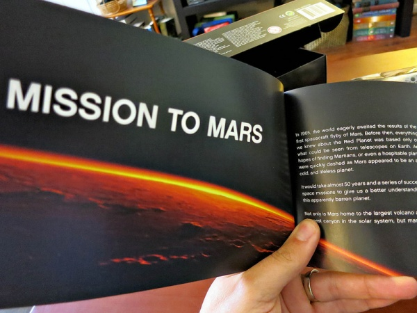 In addition to building instructions, the booklet has info about the Rover and the mission.