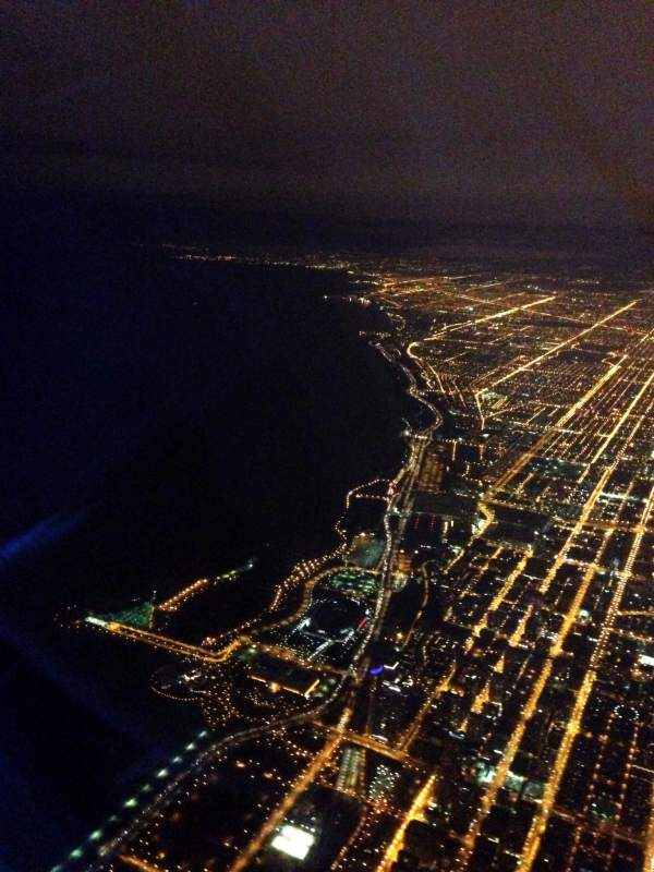 The landing pattern took us out over Lake Michigan.