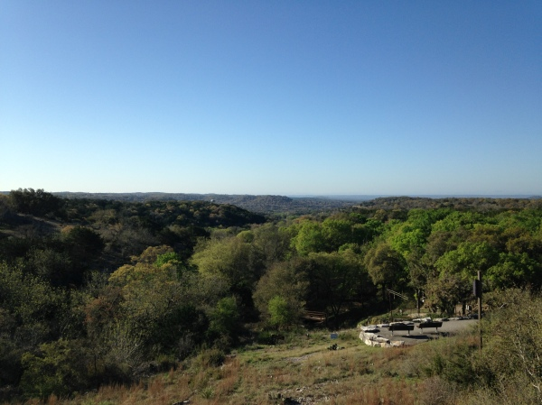 A shot from the top of the ridge, looking down toward Comfort, TX