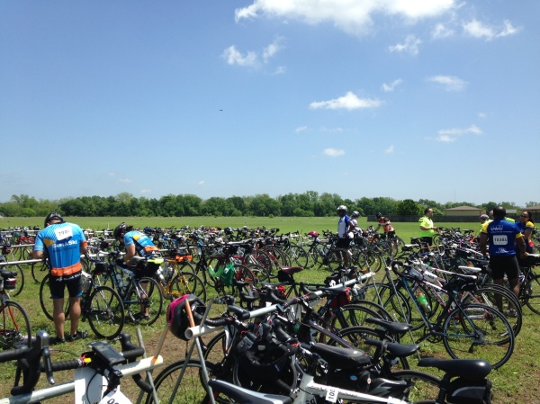 Lots of bikes on the rails at the lunch stop.