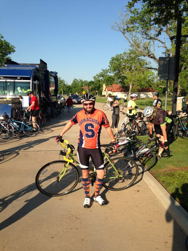 This has become my go-to outfit for these fun rides. I get lots of compliments on the socks! Let's go Orange!!